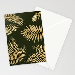 Golden and Green Palm Leaves Stationery Cards