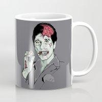scarface Mugs featuring Zombie Al Pacino Scarface  by Jane Hazlewood