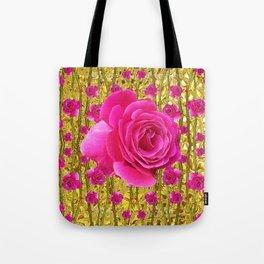 "FUCHSIA PINK ""ROSES & THORNS""  GOLD ART  ROSE  PATTERNS Tote Bag"