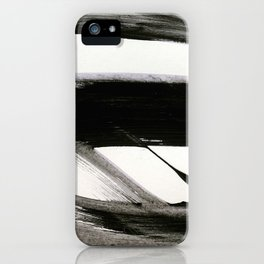Brushstroke 9: a bold, minimal, black and white abstract piece iPhone Case