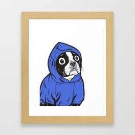 Boston Terrier Blue Hoodie Framed Art Print