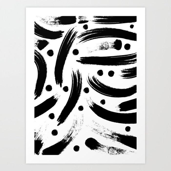 Black White Paint Strokes Pattern Art Print By Kristenlourie