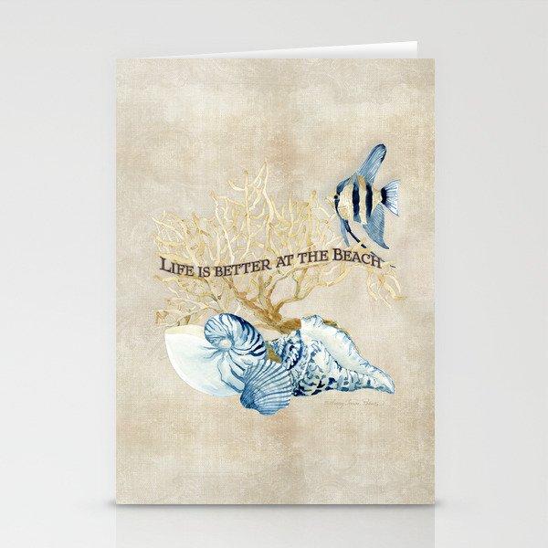 Indigo Ocean Sea Shells Angelfish Coral Watercolor Artwork Stationery Cards