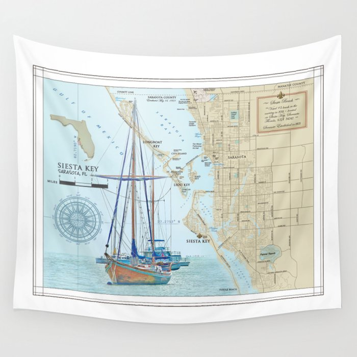 Sarasota And Siesta Key Nautical Area Map Wall Tapestry By