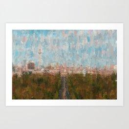 Berlin skyline  impressionism style Illustration  / abstract landscape drawing Art Print