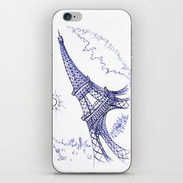 Eiffel Tower in Blue iPhone Skin