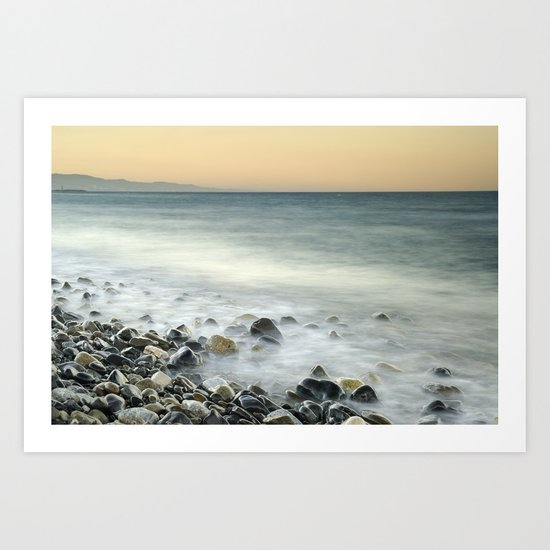 Black stones at the sea Art Print
