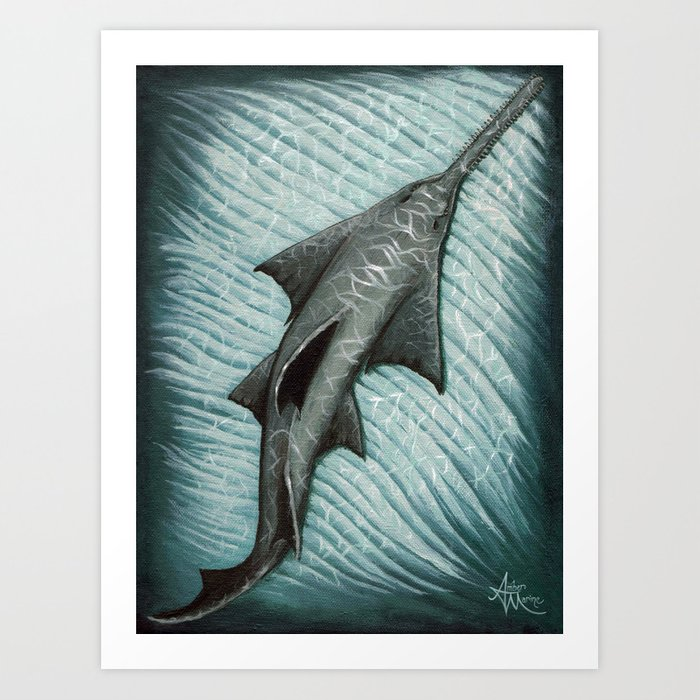 """Sawfish"" by Amber Marine ~ Acrylic Painting, (Copyright 2015) Art Print"