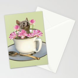 Grey Kitty Cat in Cup with Lotus Flower Stationery Cards