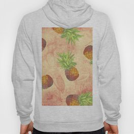 Retro Vintage Pineapple with Grunge Animals Background Hoody