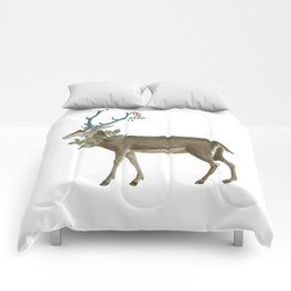 Artsy Christmas reindeer Comforters