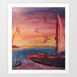 Kittens Sailing In Paradise Art Print