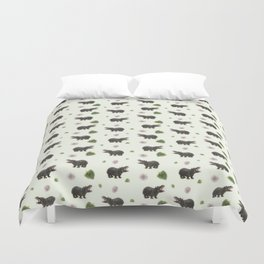 Hippos and Flowers Duvet Cover
