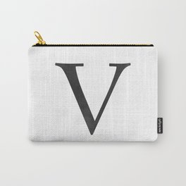 Letter V Initial Monogram Black and White Carry-All Pouch
