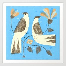BIRDS ON BLUE Art Print