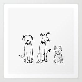 Three dogs Art Print