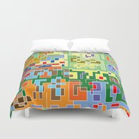maps Duvet Covers featuring Maps by Tony Vazquez