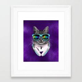 Cool Cat With Glasses & Headphones Framed Art Print