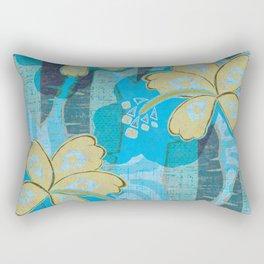 vintage Hawaiian Hibiscus Print Rectangular Pillow