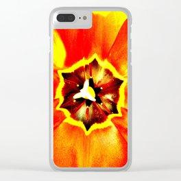 Orange Red Calyx Clear iPhone Case