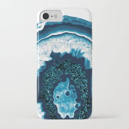 Blue White Agate with Blue Glitter #1 #gem #decor #art #society6 iPhone Case