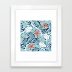 Sea pattern with shells and starfish Framed Art Print