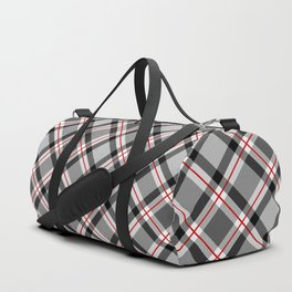 Large Modern Plaid, Black, White, Gray and Red Duffle Bag