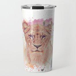 African Lioness Watercolor Digital Painting Travel Mug