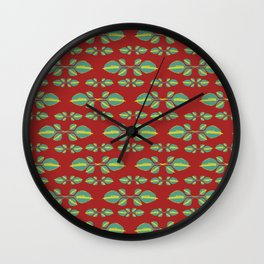 Tropical Stylized Floral Pattern Wall Clock