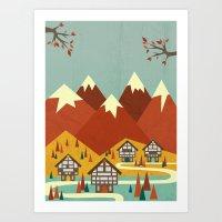 switzerland Art Prints featuring Switzerland by Kakel