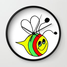 Drawn by hand a colorfull bee for children and adults Wall Clock