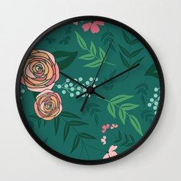 pattern flowers 20 green Wall Clock