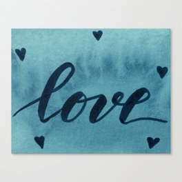 Valentine's Day Watercolor Love – teal Canvas Print