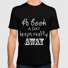 Reading quote - inverted Mens Fitted Tee Black MEDIUM