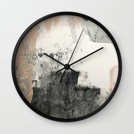 Peace and Quiet [1]: a pretty, minimal abstract piece in gray and peach by Alyssa Hamilton Art Wall Clock