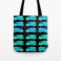 vans Tote Bags featuring Blue Surfer Vans by Edward M. Fielding