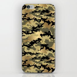 Gold Green Army Print Camouflage iPhone Skin