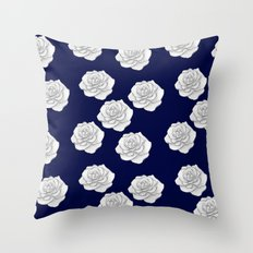 Moonlight Blue White Rose Floral Seamless Pattern Throw Pillow
