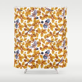 Eurasian jay birds seamless pattern with golden oak leaves and nuts Shower Curtain