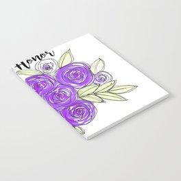 Maid Of Honor Wedding Bridal Purple Violet Lavender Roses Watercolor Notebook