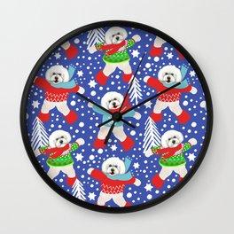 Bichon Frise Christmas fun Wall Clock