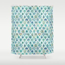 PEACOCK MERMAID Nautical Scales and Feathers Shower Curtain