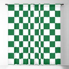 Checkered (Dark Green & White Pattern) Blackout Curtain