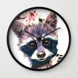 Blooming Raccoon Wall Clock