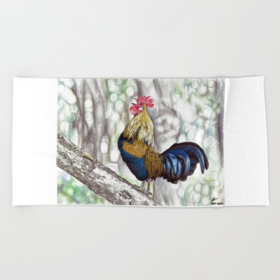 Red Junglefowl (Original Available for sale) Beach Towel