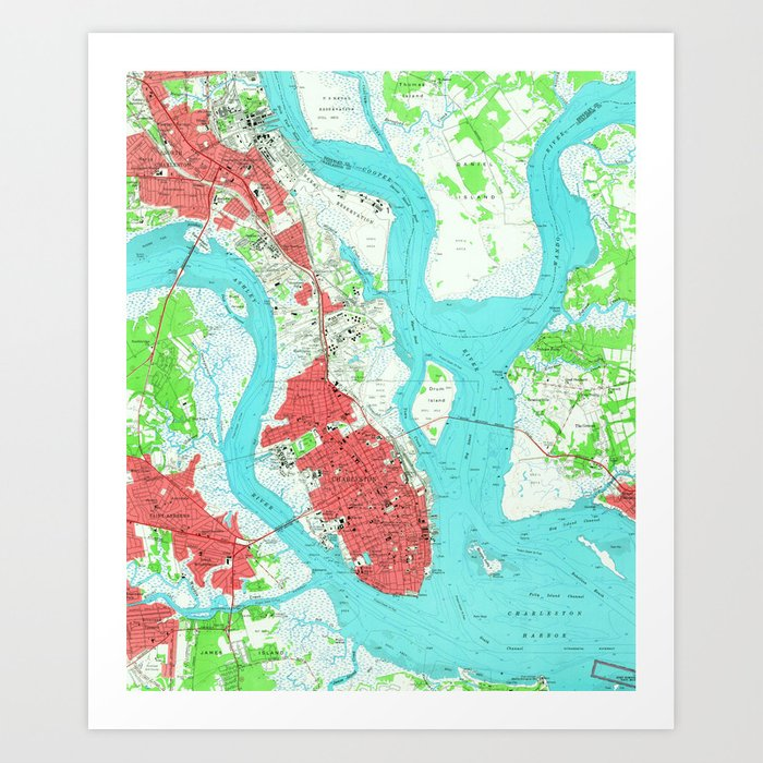 Vintage Map of Charleston South Carolina (1958) 2 Art Print by ... on