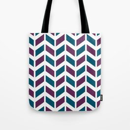 Teal blue, purple and white chevron pattern Tote Bag