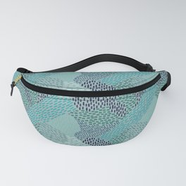 Brush Strokes Abstract Pattern, Blues & Teals on Gray Fanny Pack
