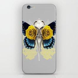 Bird skull and yellow roses iPhone Skin