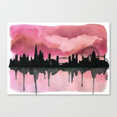 London Skyline 2 Pink Canvas Print